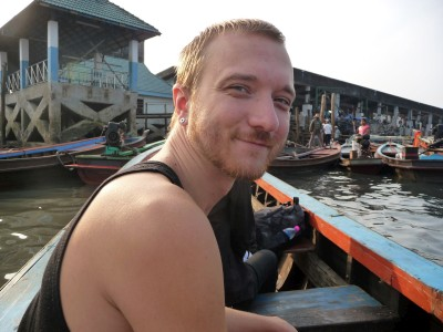 Saben on the boat to Burma