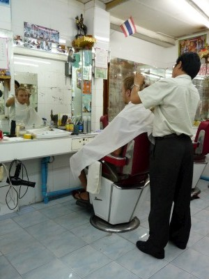Saben getting a hair cut