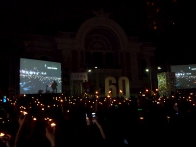 Candles and a huge PA for Earth Hour.... slightly ironic